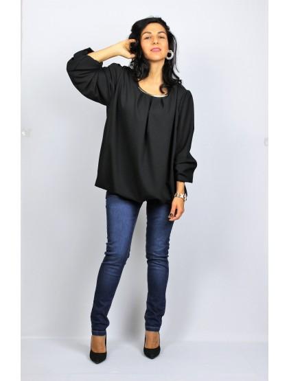 Блуза креп шифон черна
