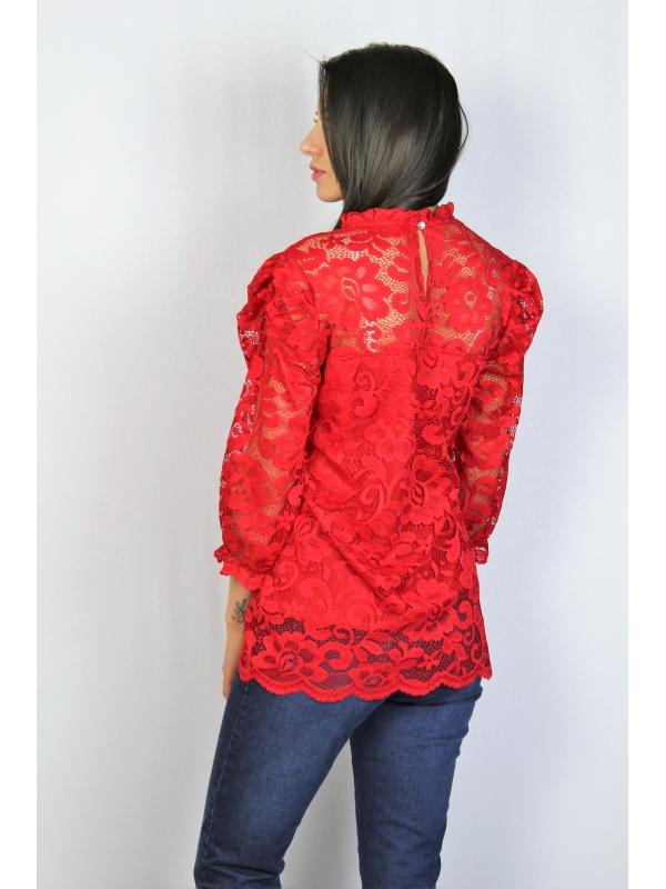 Блуза дантела червена