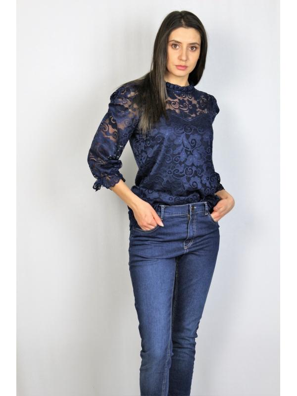 Блуза дантела тъмносиня