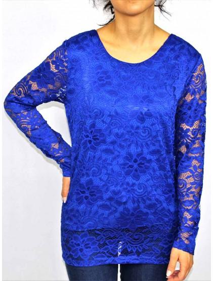 Блуза Дантела кралско синьо
