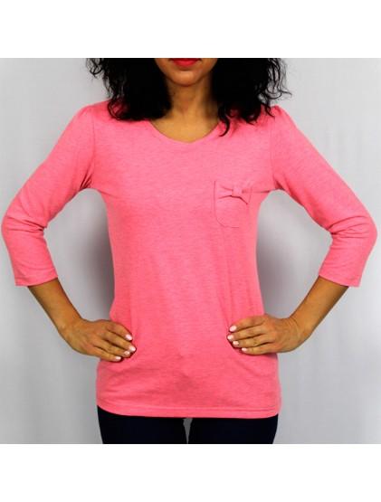 Блуза с джоб розов неон