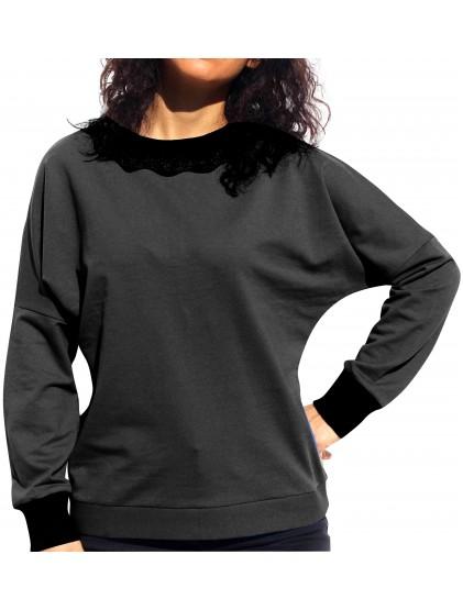 Дамска блуза памучно трико черна