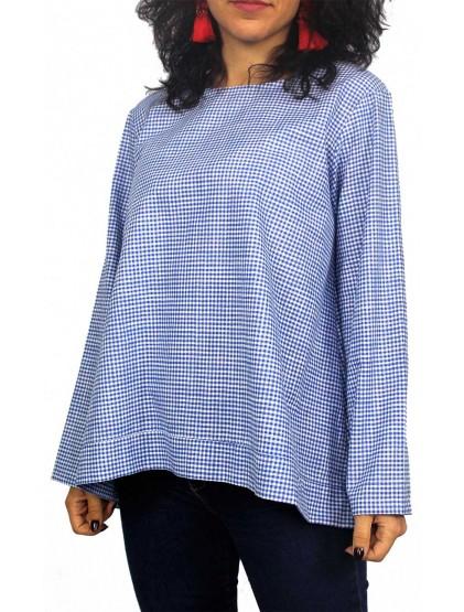 8fd67ad1a3a Риза каре с дълъг ръкав синя