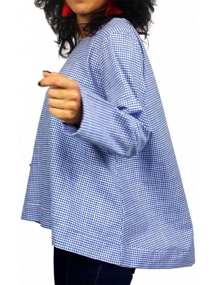Риза каре с дълъг ръкав синя