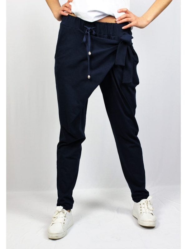 Панталон с прехвърляне тъмно син