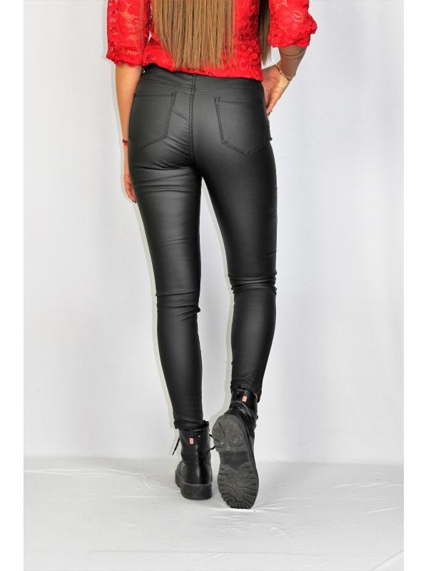 Кожен панталон черен