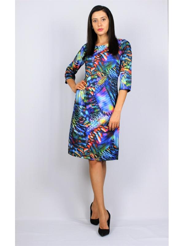 Щампована рокля цветна в синьо- лилаво