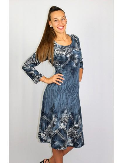 Разкроена рокля с бордюр дънково синьо