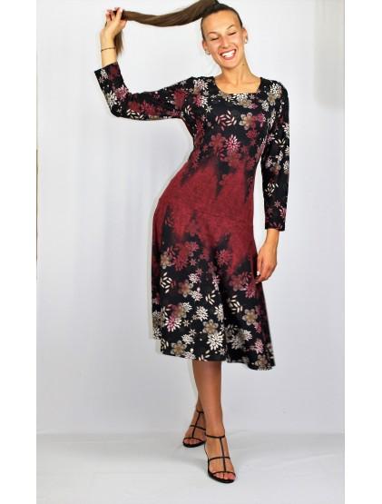 Разкроена рокля с бордюр бордо
