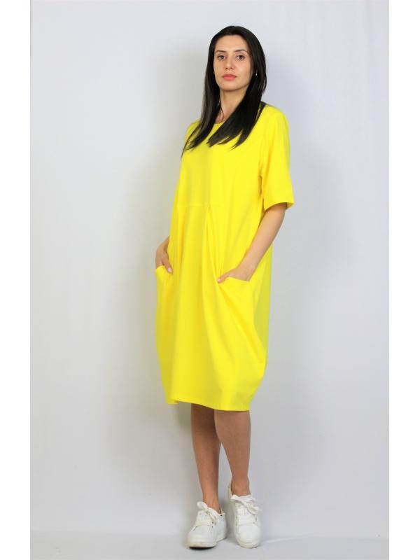 Рокля памук жълта