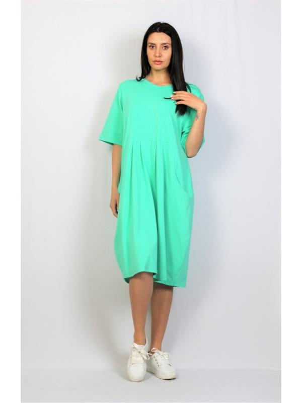 Рокля памук ментово зелено