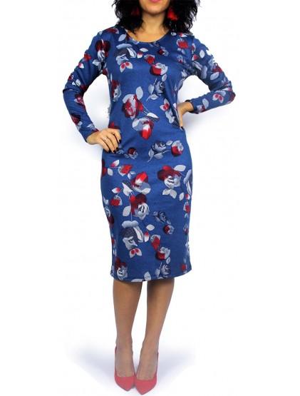 Права рокля дълъг ръкав синя с цветя
