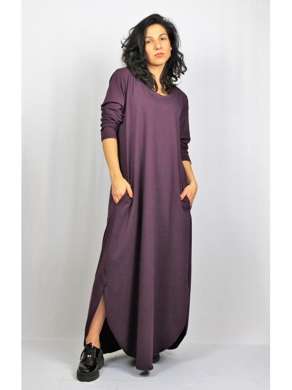 Дълга рокля памук патладжан с дълъг ръкав