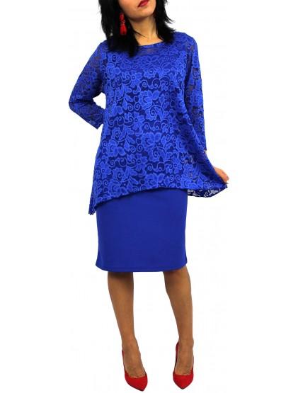 Комплект СТИЛ-Рокля и Туника от дантела кралско синя