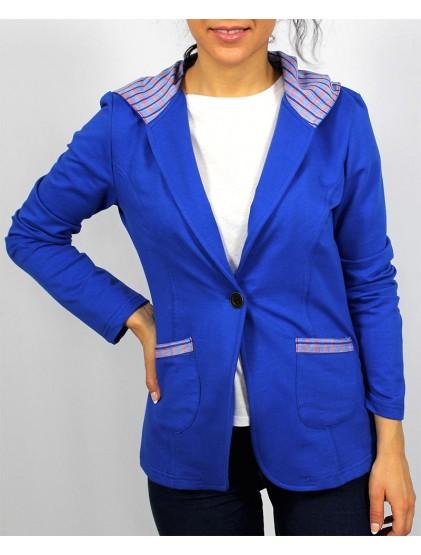 Сако с качулка кралско синьо