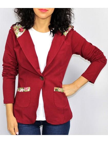 Сако с качулка бордо