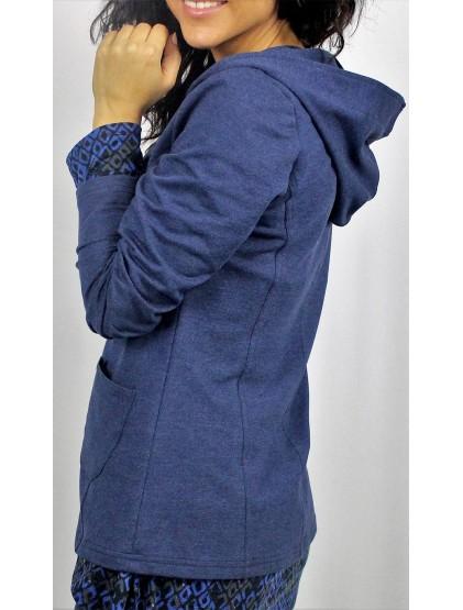 Сако с качулка индигово синьо памучно трико