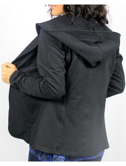 Сако с качулка черно памучно трико