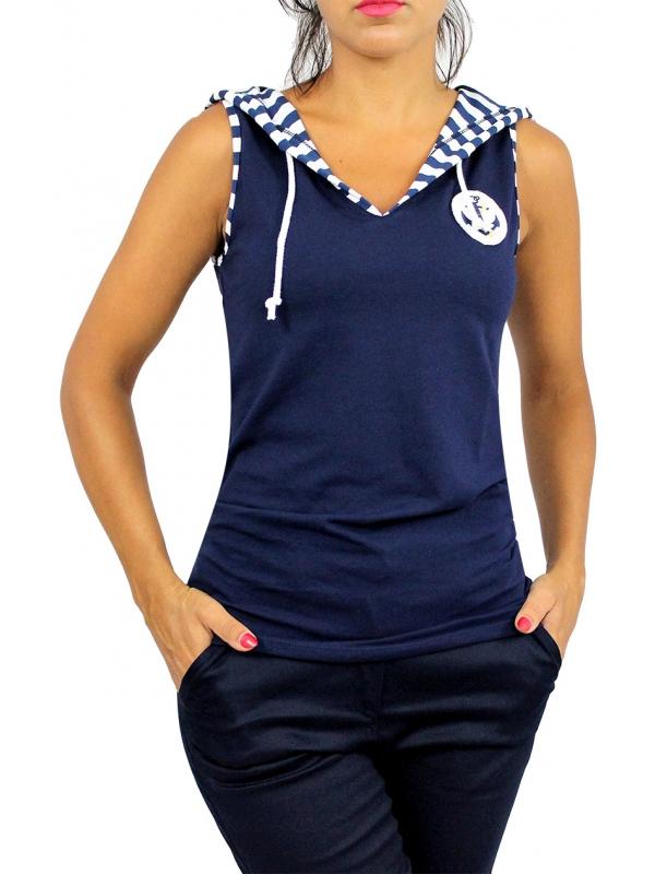 Блуза с качулка тъмно синя