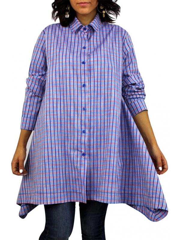 Риза асиметрична каре синя