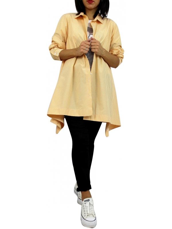 Риза асиметрична каре жълта