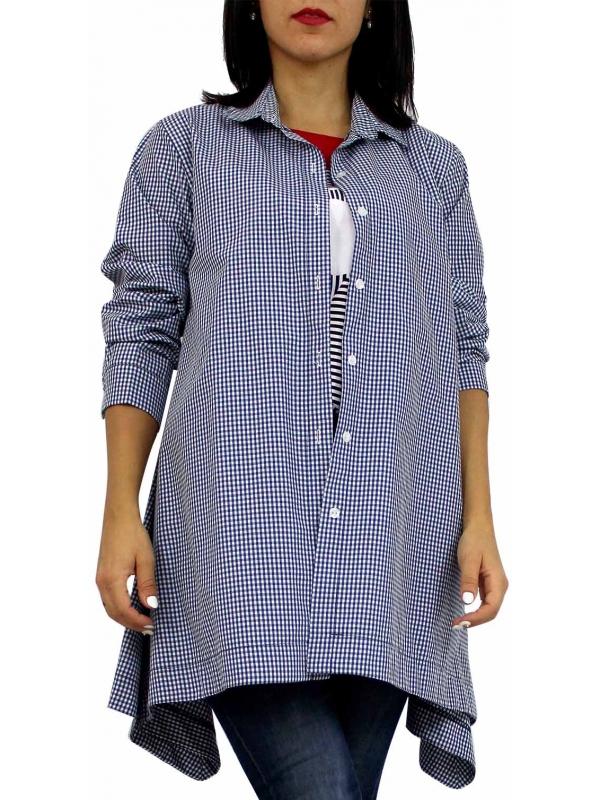 Риза асиметрична каре тъмно синя