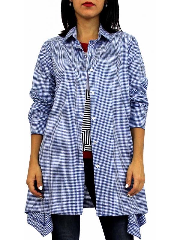 Риза асиметрична каре кралско синя