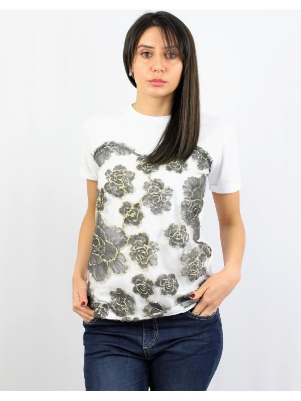 Блуза с бродирана дантела