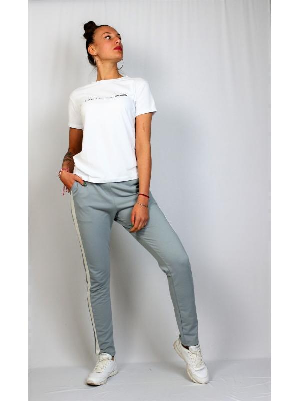 Спортен панталон с бели кантове сив