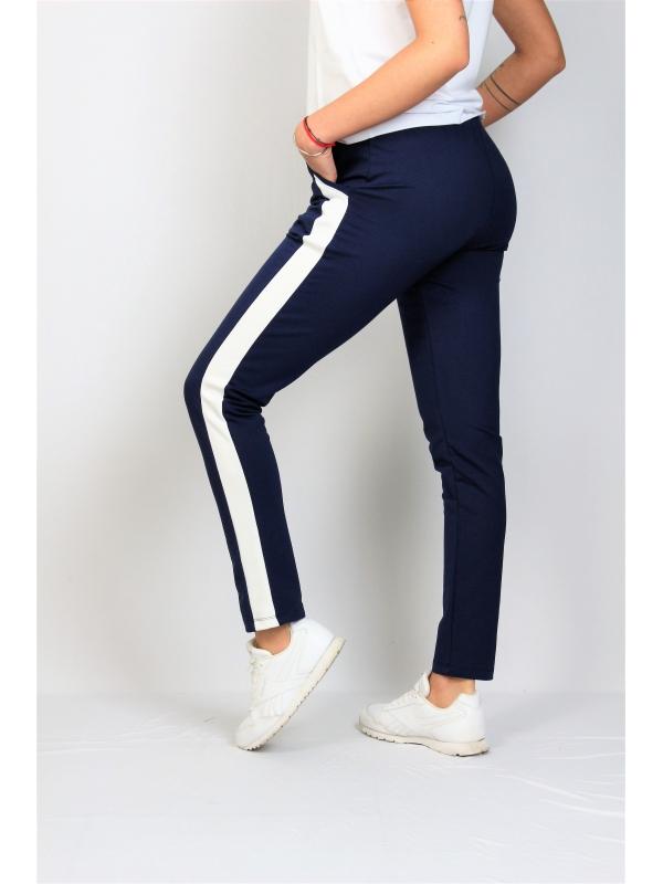 Спортен панталон с бели кантове тъмносин