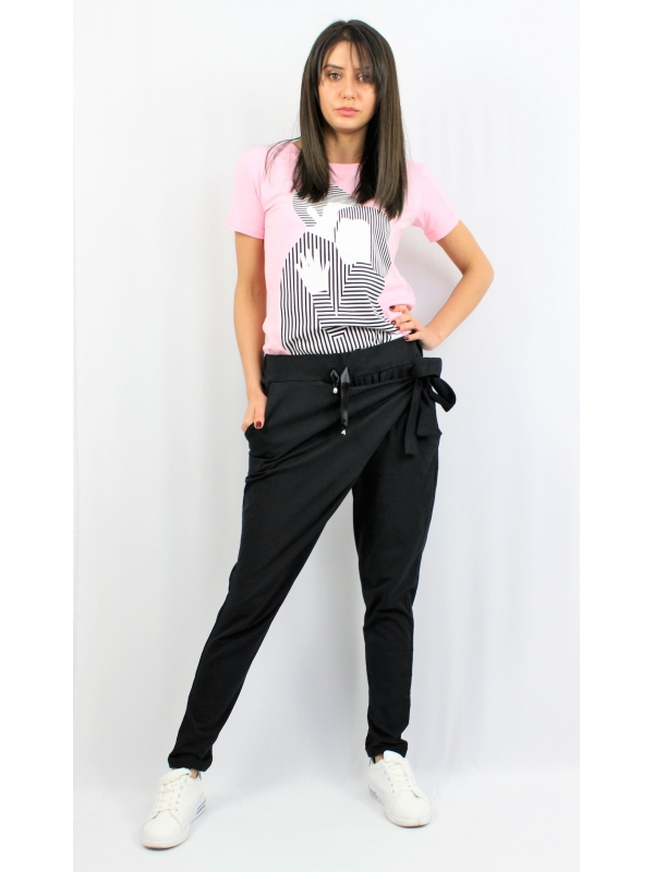 Панталон с прехвърляне черен
