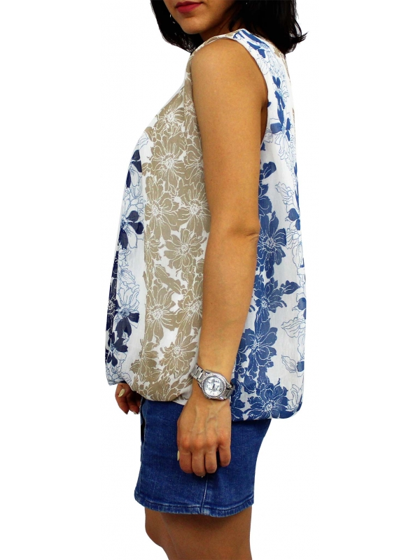 Блуза шифон Цветя бежеви