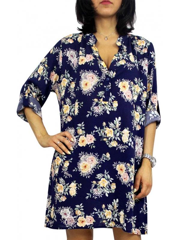 Дълга риза цветя синя