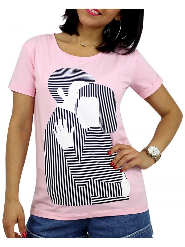 Тениска щампа розова