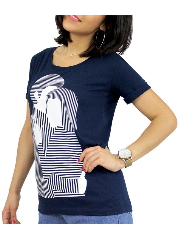 Тениска щампа синя