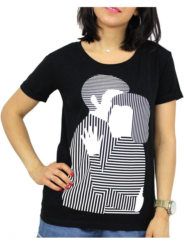 Тениска щампа черна