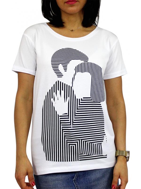Тениска щампа бяла