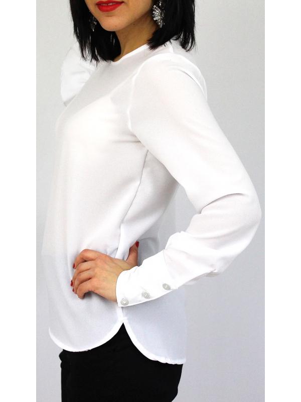 Риза с къдра на ръкава бяла