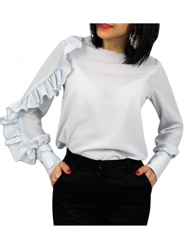 Риза с къдра на ръкава сива