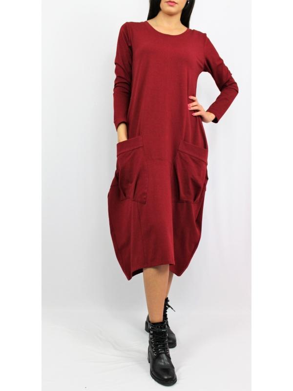 Дълга рокля тип балон бордо