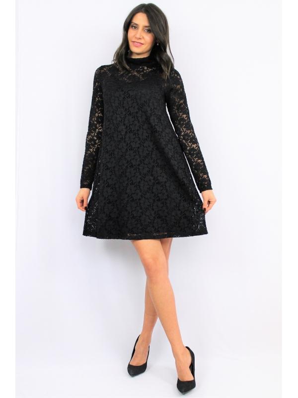 Туника - рокля  черна дантела