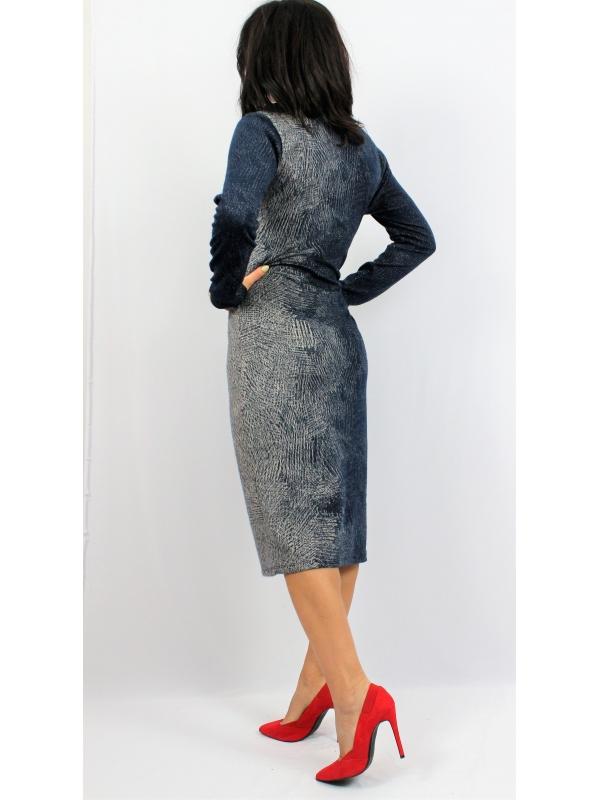 Права рокля преливащи цветове тъмно синя