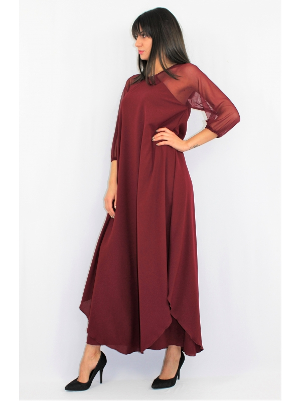 Дълга рокля бордо