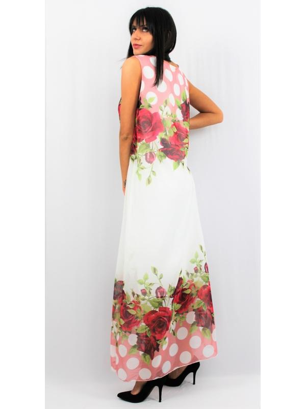 Дълга рокля рози бордо