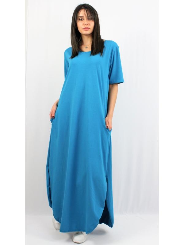 Дълга памучна рокля светъл петрол