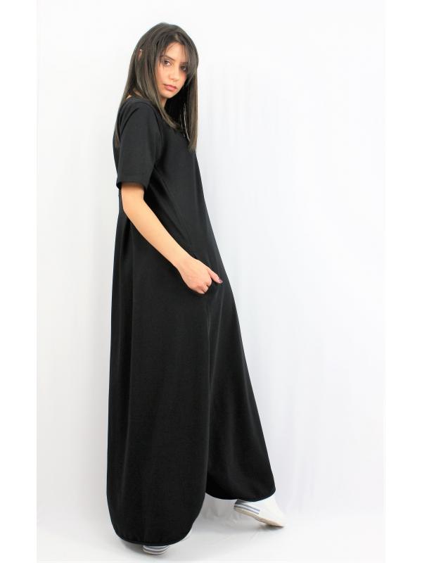 Дълга памучна рокля черна