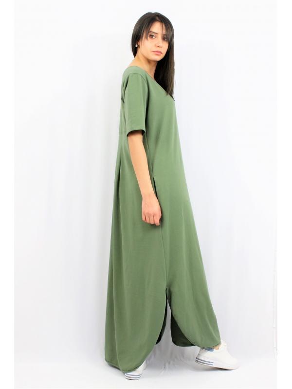 Дълга памучна рокля зелена