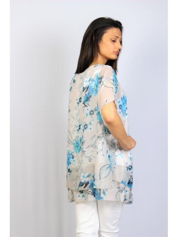 Туника шифон цветя сини