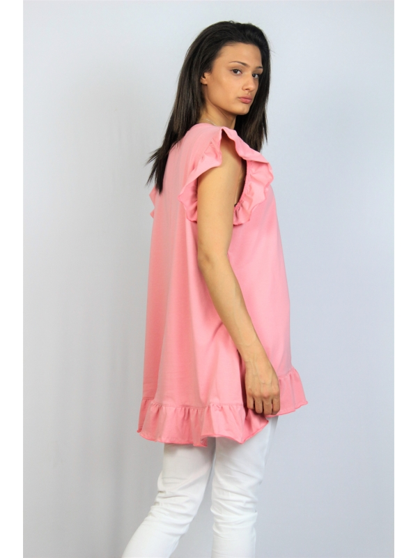 Асиметрична памучна туника с къдри розова