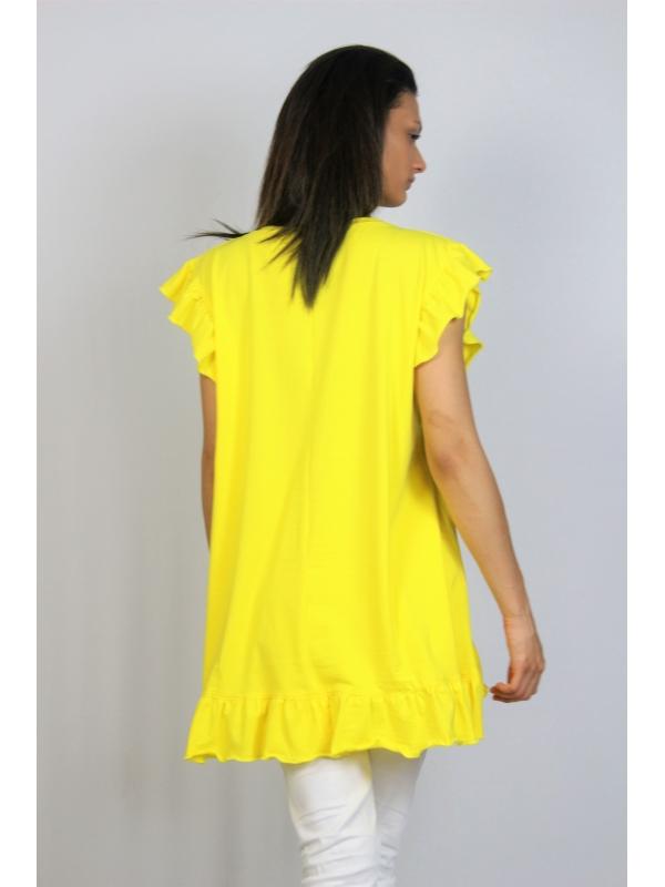 Асиметрична памучна туника с къдри жълта